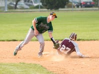 James Buchanan's Jared Pine puts the tag on Clayton Stine of Shippensburg during an attempted steal in a baseball game at Shippensburg on Thursday, April 27, 2017. JB won 7-5.