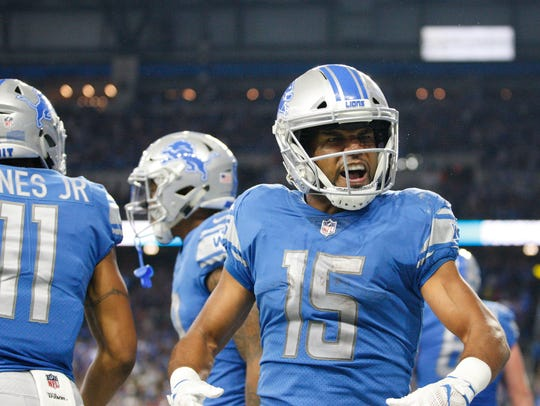 Lions receiver Golden Tate isn't shy about celebrating his own touchdowns, or even those of his teammates, as he did here with rookie WR Kenny Golladay in Week 1.