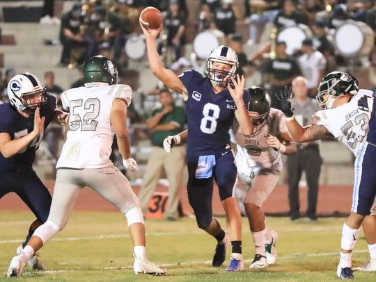 Central Valley Christian's QB Eric Dragt (C)  (8) passes