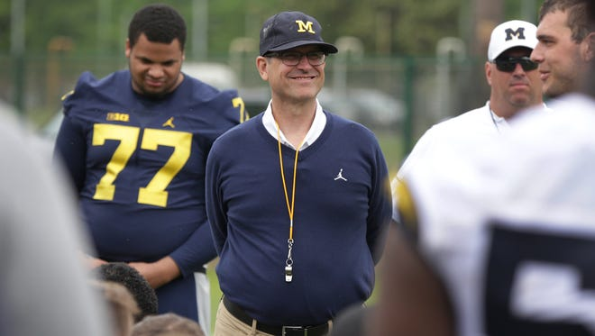 Michigan coach Jim Harbaugh after the Wolverines first practice in Rome at Giulio Onesti Training Center on Thursday, April 27, 2017.