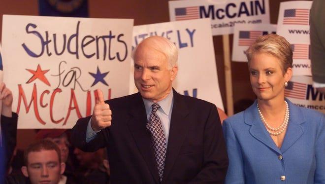 John McCain and his wife Cindy McCain.