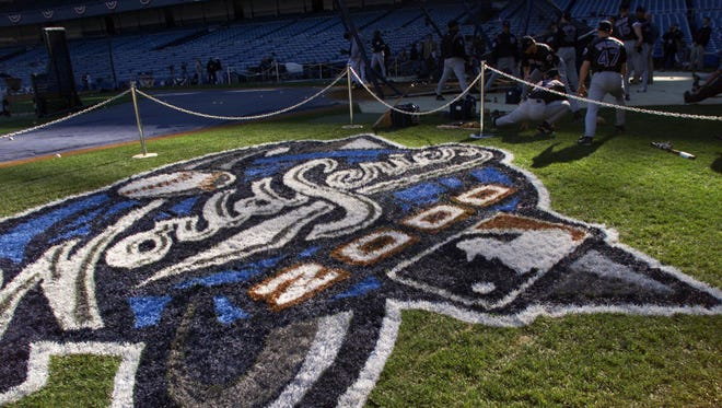 20 Oct 2000: The World Series logo painted on the field the day before game 1 of the World Series between the New York Mets and the New York Yankees at Yankee Stadium in the Bronx, New York. DIGITAL IMAGE. Mandatory Credit: Jed Jacobsohn/ALLSPORT