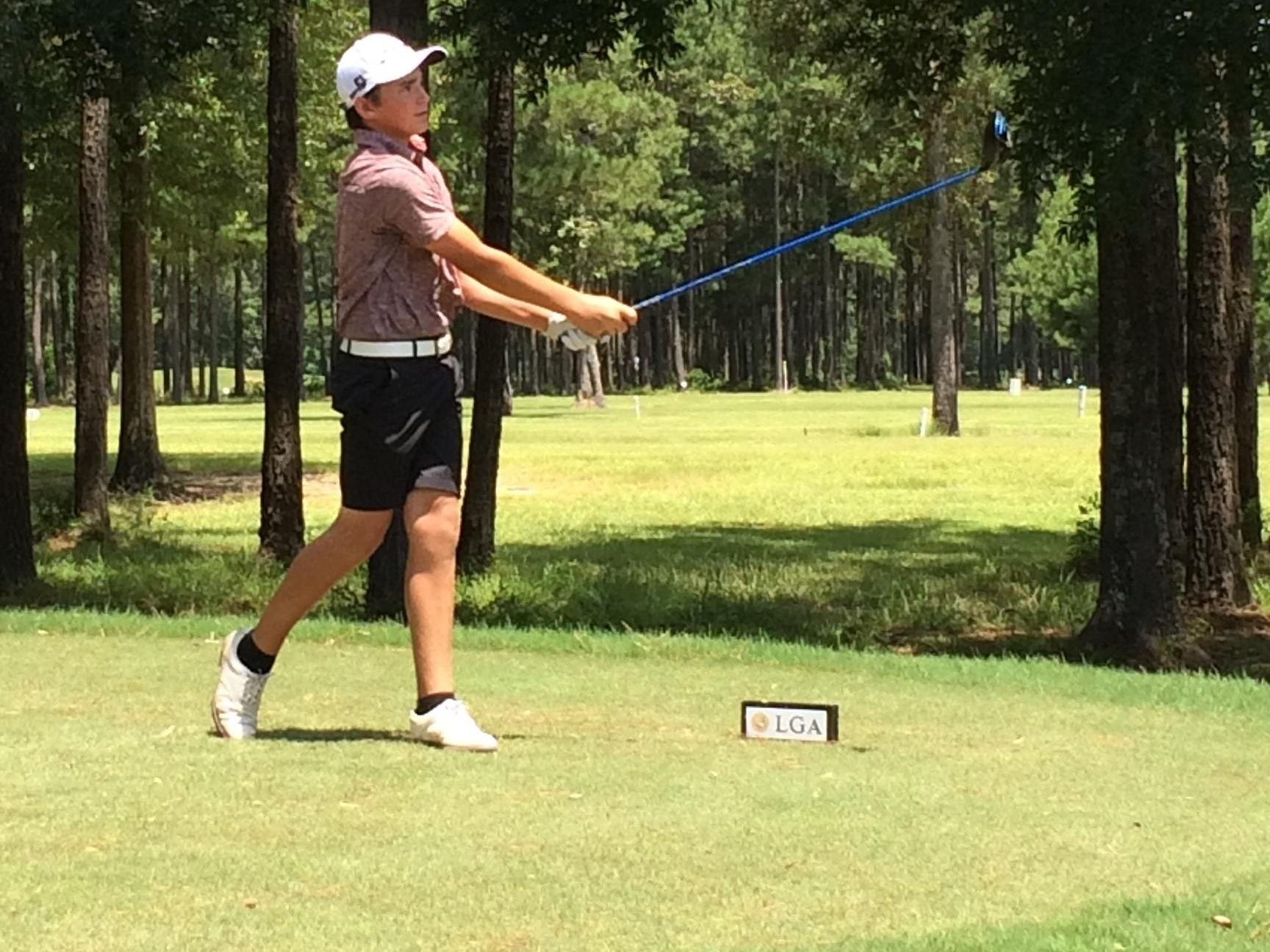 Menard sophomore Charlie Flynn tees off on a hole during Friday's final round at the Louisiana Golf Association Junior Amateur Championship in Springfield. Flynn shot a second straight 2-over-par 74 to finish in a tie for 12th place.
