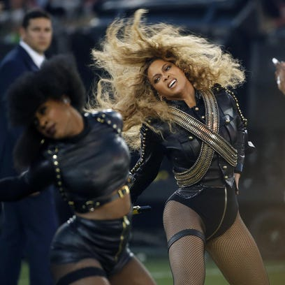 Beyonce performs during the halftime show of Super Bowl 50.