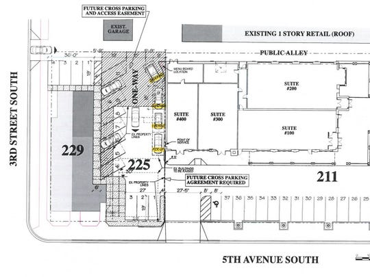 Plans for a drive-thru coffee shop that were submitted to the St. Cloud City Council in Feb. 2017 outline what the space could look like after the demolition of a triplex and storage shed that started Tuesday.