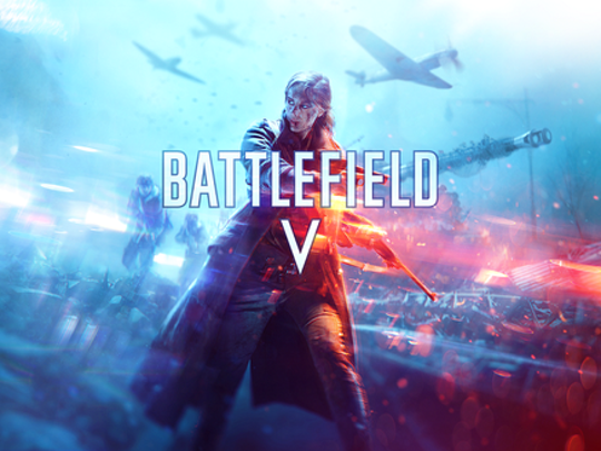Artwork of Electronic Arts' Battlefield video game depicting a character in a war setting with the Battlefield five title displayed.