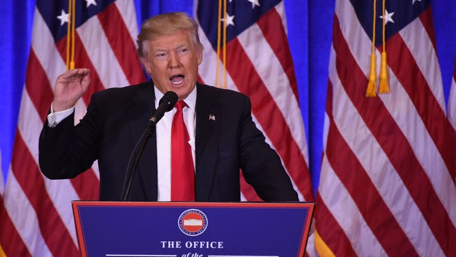 President-elect Donald Trump gives a press conference on Jan. 11, 2017, in New York.
