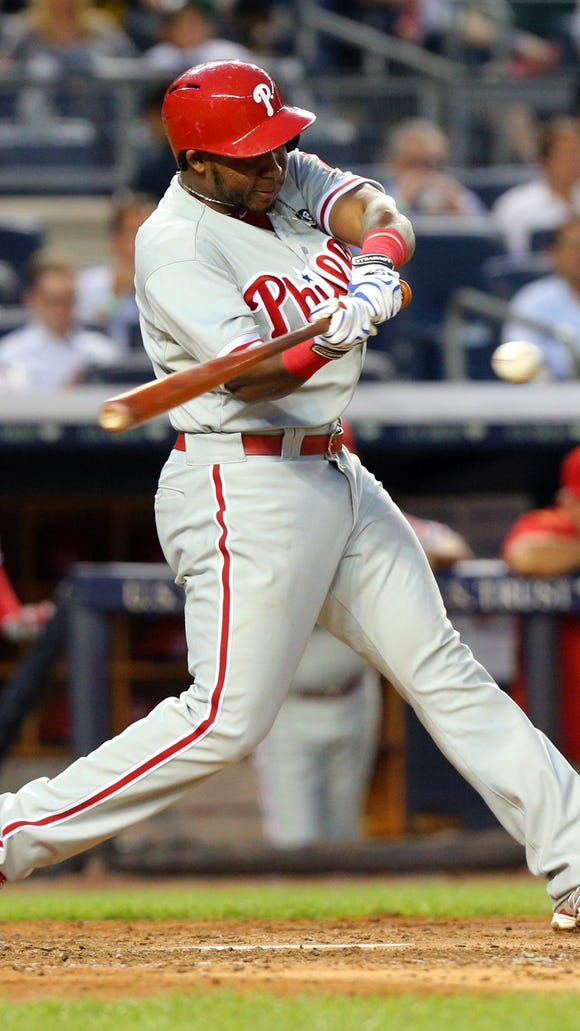 Phillies third baseman Maikel Franco hits a two-run single against the New York Yankees during the fourth inning at Yankee Stadium. Credit: Brad Penner-USA TODAY Sports