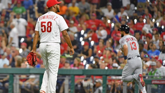 Phillies relief pitcher Seranthony Dominguez (58) reacts after allowing a home run to St. Louis Cardinals first baseman Matt Carpenter (13) during the ninth inning at Citizens Bank Park. Mandatory Credit: Eric Hartline-USA TODAY Sports