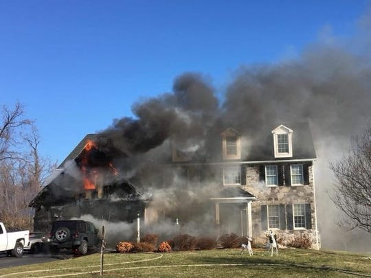 York Area United Fire and Rescue crews quickly doused a blaze in a home in the 1300 block of Winterberry Drive in Springettsbury Twp. on Dec. 28, 2017.