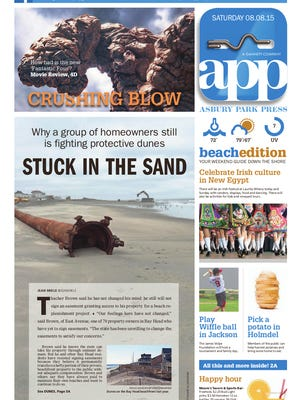 Asbury Park Press front page, Saturday, August 8, 2015