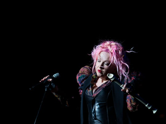 Cyndi Lauper entertains the crowd at the Louisville Palace.May 11, 2016