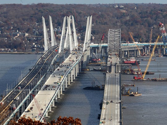 Work continues on the eastbound span of the Gov. Mario Cuomo Bridge as the demolition process continues on the Tappan Zee Bridge Dec. 1, 2017.