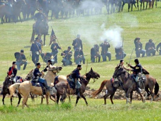 Gettysburg Anniversary National Civil War Battle reenactment Friday July 5, 2013 at the Redding Farm, 1085 Table Rock Road, Gettysburg. (Public Opinion, Markell DeLoatch)