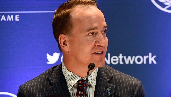 University of Tennessee former quarterback and NFL quarterback Peyton Manning at the 60th NFF Annual Awards Dinner Press Conference at New York Hilton.