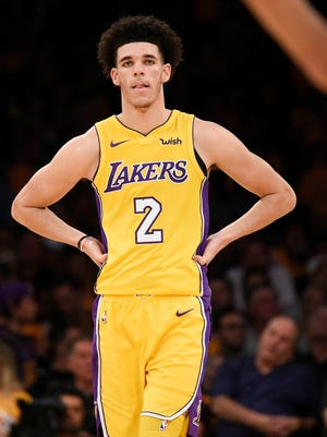 Los Angeles Lakers guard Lonzo Ball (2) looks on during the second half against the LA Clippers at Staples Center.