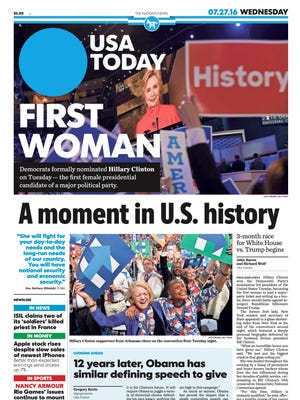 USA TODAY's front page on July 27, 2016.