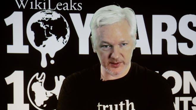 Julian Assange speaks via video on Oct. 4, 2016.