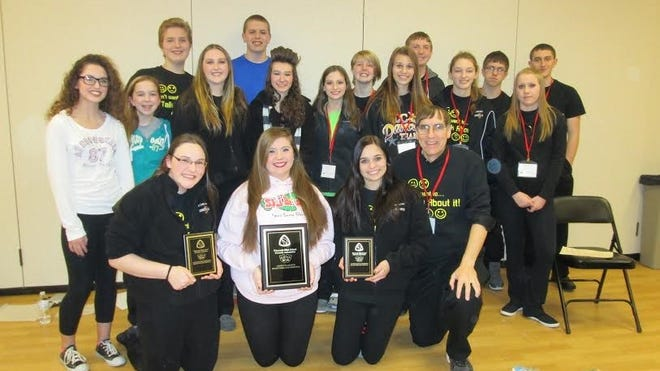 The Luxemburg-Casco One Act group with their Critic's Choice award at the state theater festival at Viterbo University in La Crosse.