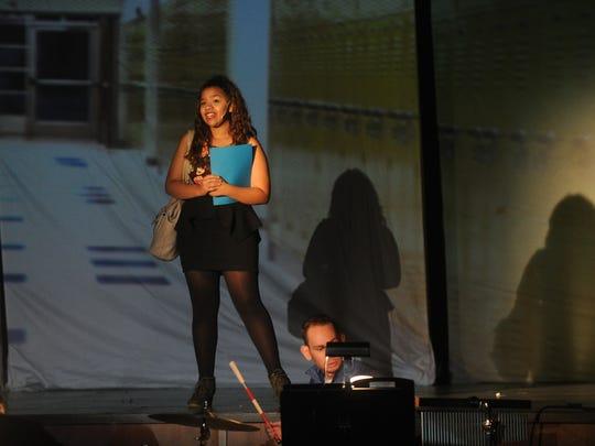 "Nalani Abdullah rehearses a scene from ""Calvin Berger"""