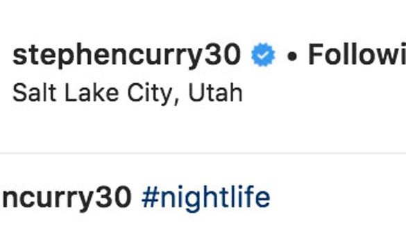 Steph Curry jokes about Utah's 'nightlife' on Instagram before Jazz game