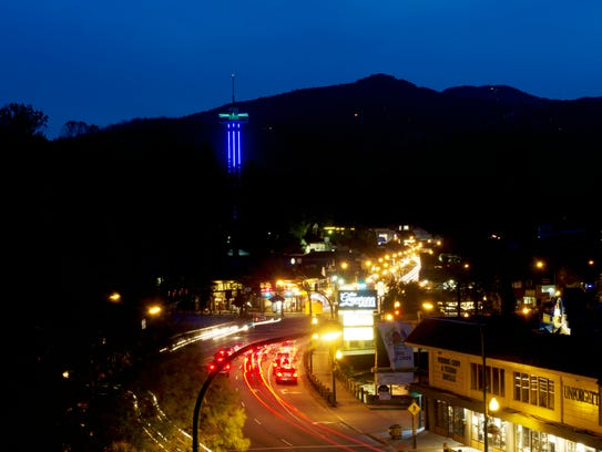Night falls over in Gatlinburg on Thursday, May 18,