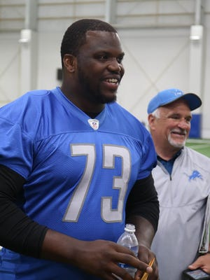 Lions tackle Greg Robinson talks with reporters after minicamp June 15, 2017 at the practice facility in Allen Park.