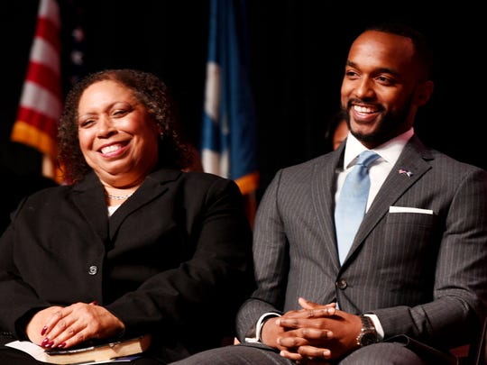 Mayor Adrian Perkins and his mother, Johnny Oliver-Jones, share a laugh during his Inauguration at the Shreveport Convention Center Saturday, Dec. 29, in Shreveport, Louisiana.