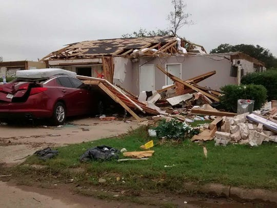 Damage from tornado damage in Van, Texas. Carolyn and Rich Newkirk, of Ankeny, volunteered with the American Red Cross in Texas as mental health professionals for almost two weeks to help survivors, emergency responders and other volunteers debrief and talk about the trauma they experienced because of the tornadoes and flooding.