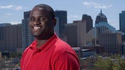 Rickey Smith poses near downtown Oklahoma City, Okla.,