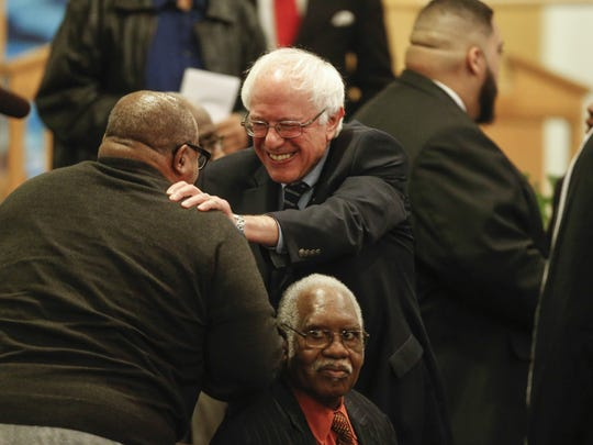 Vermont Sen. Bernie Sanders, currently running for U.S. president as a democrat, greeted supporters after speaking at a Sunday church service at the Mount Carmel Baptist Church on Sunday, Dec. 13, 2015, in Waterloo, Iowa.