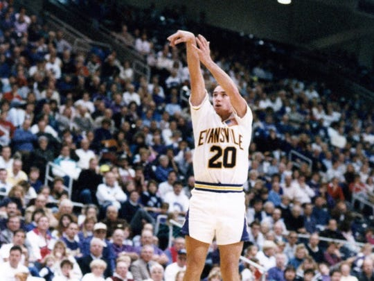Scott Shreffler was a sharpshooter and part of three NCAA Tournament teams with Evansville in the late-1980s and early-90s.