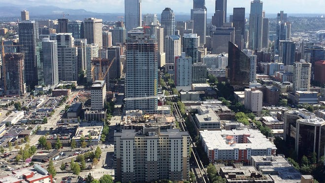 The view of downtown Seattle from the top of the famous Space Needle north of downtown.