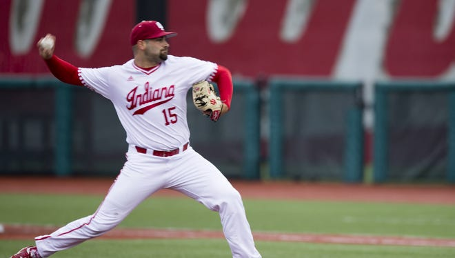 FILE – Pauly Milto struck out 10 batters to help IU stave off elimination in Saturday's NCAA tournament game vs. Texas Southern.