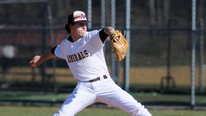 Mike Pascoe throws a pitch during a no-hitter during for Arlington High School during an April 2016 game against Mahopac.
