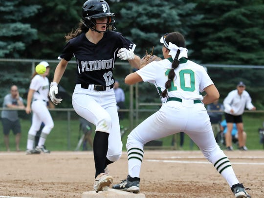 Plymouth's Alexis D'Alexander beats out a throw to