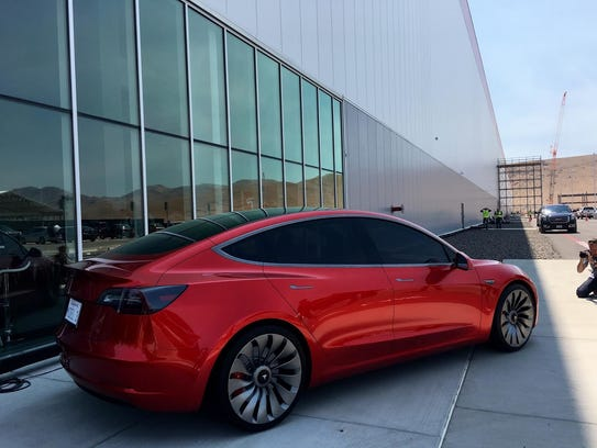 Tesla's forthcoming Model 3 sedan, priced at about