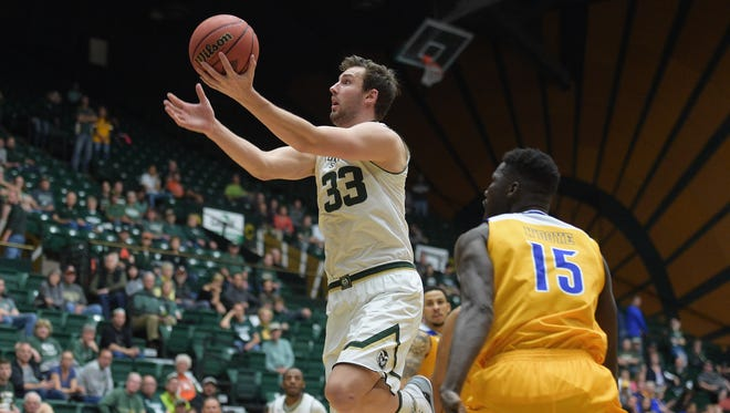 CSU's Braden Koelliker puts up a shot during an March 20 NIT game against Cal State-Bakersfield at Moby Arena. Koelliker said he wanted to move closer to home in Utah and was granted a release to transfer, CSU coach Larry Eustachy said Thursday.