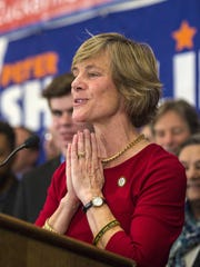Democratic gubernatorial candidate Sue Minter concedes to Governor-elect Phil Scott at the Hilton Hotel in Burlington on Tuesday, November 8, 2016.