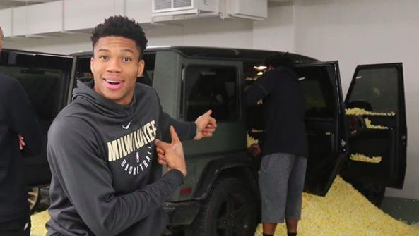 Sterling Brown's Milwaukee Bucks teammates filled his SUV with popcorn on Tuesday for neglecting his rookie duties.