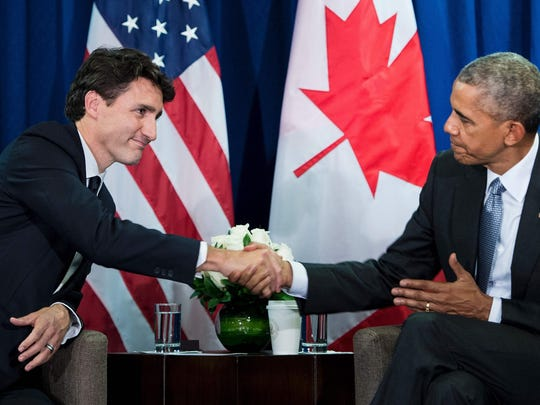 Canada's Prime Minister Justin Trudeau (L) and US President Barack Obama shake hands at the end of a bilateral meeting at the Asia-Pacific Economic Cooperation summit at the Lima Convention Centre November 20, 2016 in Lima, Peru. Asia-Pacific leaders were expected to send a strong message in defense of free trade on November 20 as they wrap up a summit that has been overshadowed by US President-elect Donald Trump's protectionism. / AFP PHOTO / Brendan SmialowskiBRENDAN SMIALOWSKI/AFP/Getty Images