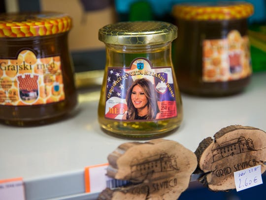 Melania Trump-themed Sevnica honey is pictured on display at a tourist information centre and shop in Sevnica, Slovenia. Born in Slovenia, Melania Trump will become the second foreign-born First Lady of the United States when her husband Donald Trump is sworn in as President.