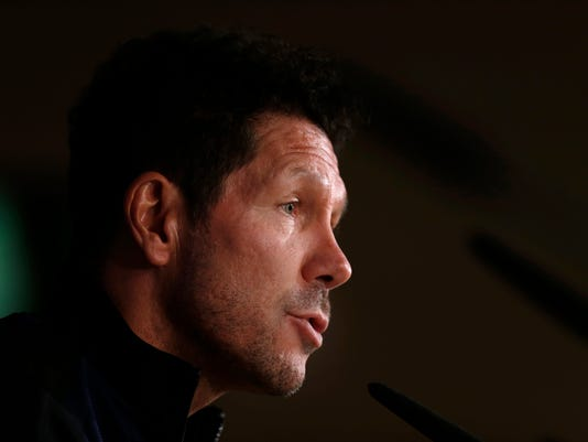 Atletico Madrid head coach Diego Simeone talks to journalists during a news conference at the Santiago Bernabeu stadium in Madrid, Monday, May 1, 2017. Atletico Madrid will play a Champions League first leg semifinal soccer match against Real Madrid on Tuesday 2. (AP Photo/Francisco Seco)
