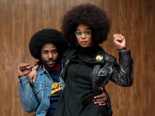 "John David Washington and Laura Harrier star in ""BlacKkKlansman."""