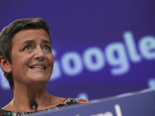 European Competition Commissioner Margrethe Vestager speaks during a media conference at EU headquarters in Brussels, Wednesday, March 20, 2019. European Union regulators have hit Google with a 1.49 billion euro ($1.68 billion) fine for abusing its dominant role in online advertising.
