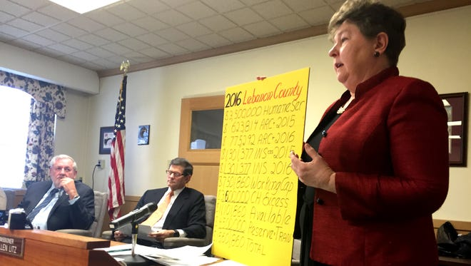 As commissioners Bill Ames, far left, and Bob Phillips listen, Lebanon County Commissioner Jo Ellen Litz on Thursday uses a chart to explain how she found $15.6 million in available general fund money that would cover county expenses without the 32 percent property tax increase passed in December.
