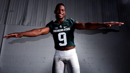 Safety Montae Nicholson at MSU football media day Monday,