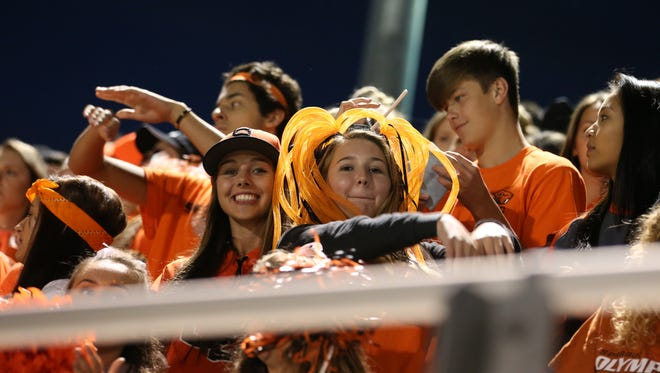 Sprague fans cheer as the Olympians defeat South Salem 48-7 in a Greater Valley Conference game on Friday, Sept. 2, 2016, at South Salem.