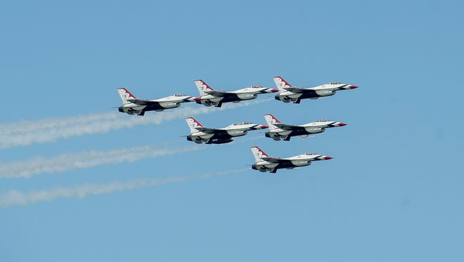 U.S. Air Force Thunderbirds fly in formation during a previous OC Air Show.