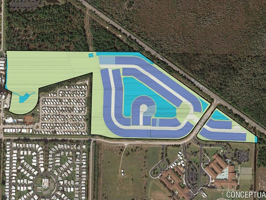 A conceptual plan by Argo Land Development for a future residential community near Manatee Middle and Elementary schools at U.S. 41 East and Manatee Road in East Naples. The white areas are streets, the bluish-purple areas are future home sites, the light blue areas are lakes and the light green areas represent land that will remain undeveloped.